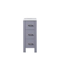 Lexora Volez 12 Inch Dark Grey Side Cabinet, Phoenix Stone Top