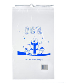 Alpine A1-10-50 10 lb. Clear Plastic Ice Bag with Cotton Drawstring, 1.5 mil - 50 Bags