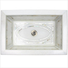 "Linkasink MI04 White Marble Graphic Mother of Pearl Inlay Undermount Sink 18 1/4"" x 12 1/4"""
