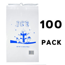 Alpine A1-10-100 10 lb. Clear Plastic Ice Bag with Cotton Drawstring, 1.5 mil - 100 Bags