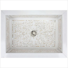 "Linkasink MI02 White Marble Floral Mother of Pearl Inlay Undermount Sink 18 1/4"" x 12 1/4"""