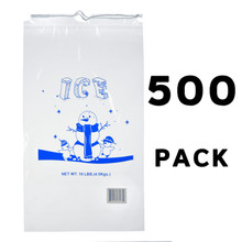 Alpine A1-10-500 10 lb. Clear Plastic Ice Bag with Cotton Drawstring, 1.5 mil - 500 Bags