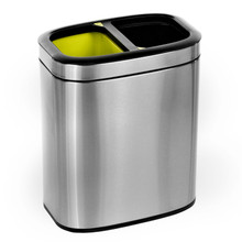Alpine 470-R-20L 20 L / 5.3 Gal Slim Brushed Stainless Steel Open Trash Can Dual Compartment