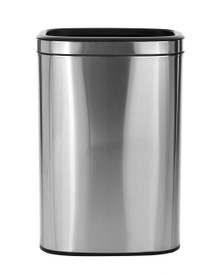 Alpine 470-40L  40 L / 10.5 Gal Stainless Steel Slim Open Trash Can, Brushed Stainless Steel