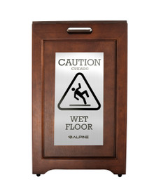 Alpine 499-SSB  2-Sided Wooden Stainless Steel Wet Floor Sign