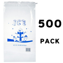 Alpine A1-20-500 20 lb. Clear Plastic Ice Bag with Cotton Drawstring, 1.75 mil - 500 Bags