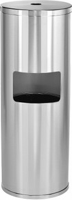 Alpine 4777 Floor Stand Gym Wipe Dispenser, with High Capacity Built-in Trash Can, Stainless Steel