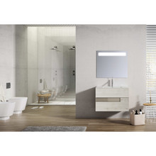 Lucena Bath 3059 Vision 2 Drawer Wall Mounted 24 Inch Vanity With Ceramic Sink - Abedul With Tortora Glass Handle