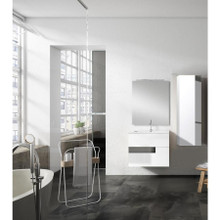 Lucena Bath 3062-01/Grey Vision 2 Drawer Wall Mounted 24 Inch Vanity With Ceramic Sink - White With Grey Glass Handle