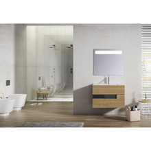 Lucena Bath 3068 Vision 2 Drawer Wall Mounted 32 Inch Vanity With Ceramic Sink - Canela With Black Glass Handle