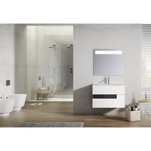 Lucena Bath 3069-01/Black Vision 2 Drawer Wall Mounted 32 Inch Vanity With Ceramic Sink - White With Black Glass Handle