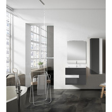 Lucena Bath 3069-04/White Vision 2 Drawer Wall Mounted 32 Inch Vanity With Ceramic Sink - Grey With White Glass Handle