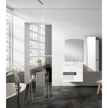 Lucena Bath 3076-01/Grey Vision 2 Drawer Wall Mounted 40 Inch Vanity With Ceramic Sink - White With Grey Glass Handle