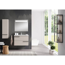 Lucena Bath 3878 Scala Two Drawer 24 Inch Vanity With Ceramic Sink - Wall Mounted Or Floor Standing - Quarzo