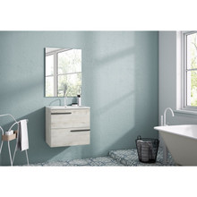 Lucena Bath 3874 Scala Two Drawer 24 Inch Vanity With Ceramic Sink - Wall Mounted Or Floor Standing - Abedul