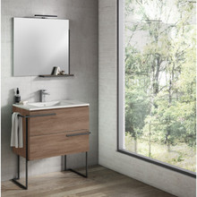 Lucena Bath 3883 Scala Two Drawer 32 Inch Vanity With Ceramic Sink - Wall Mounted Or Floor Standing - Terra