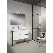 Lucena Bath 3882 Scala Two Drawer 32 Inch Vanity With Ceramic Sink - Wall Mounted Or Floor Standing - White