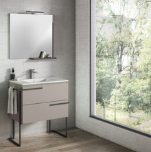 Lucena Bath 3884 Scala Two Drawer 32 Inch Vanity With Ceramic Sink - Wall Mounted Or Floor Standing - Quarzo