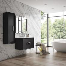Lucena Bath 4248 Decor Tirador Wall Hung 24 Inch Vanity With Ceramic Sink - Black