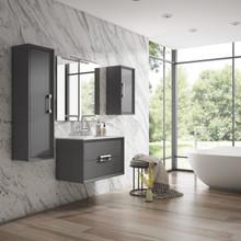 Lucena Bath 4252 Decor Tirador Wall Hung 24 Inch Vanity With Ceramic Sink - Grey