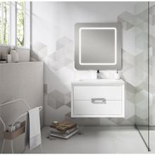 Lucena Bath 4254 Decor Tirador Wall Hung 32 Inch Vanity With Ceramic Sink - White