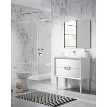 Lucena Bath 42471 Decor Tirador Freestanding 24 Inch Vanity With Ceramic Sink - White
