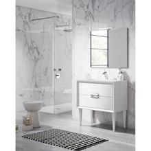 Lucena Bath 42541 Decor Tirador Freestanding 32 Inch Vanity With Ceramic Sink - White