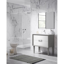 Lucena Bath 42601-01/Silver Decor Tirador Freestanding 32 Inch Vanity With Ceramic Sink - White And Silver