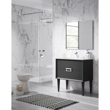 Lucena Bath 42621 Decor Tirador Freestanding 40 Inch Vanity With Ceramic Sink - Black