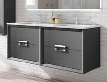 Lucena Bath 42482 Decor Tirador Double Sink 48 Inch Vanity And Ceramic Sink, Wall Mounted - Black