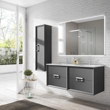 Lucena Bath 42522 Decor Tirador Double Sink 48 Inch Vanity And Ceramic Sink, Wall Mounted - Grey