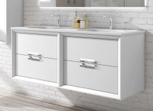 Lucena Bath 42532-01/Silver Decor Tirador Double Sink 48 Inch Vanity And Ceramic Sink, Wall Mounted - White And Silver