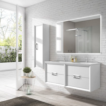 Lucena Bath 42542 Decor Tirador Double Sink 64 Inch Vanity And Ceramic Sink, Wall Mounted - White