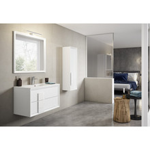 Lucena Bath 4298 Decor Cristal Wall Hung Two Drawer 24 Inch Vanity With Ceramic Sink - White With White Glass Handle