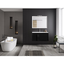 Lucena Bath 4299 Decor Cristal Wall Hung Two Drawer 24 Inch Vanity With Ceramic Sink - Black With Black Glass Handle