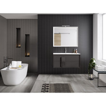 Lucena Bath 4303 Decor Cristal Wall Hung Two Drawer 24 Inch Vanity With Ceramic Sink - Grey With Grey Glass Handle