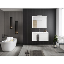 Lucena Bath 4304-01/Grey Decor Cristal Wall Hung Two Drawer 24 Inch Vanity With Ceramic Sink - White With Grey Glass Handle