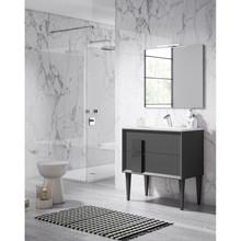 Lucena Bath 43031 Decor Cristal Freestanding 24 Inch Vanity With Ceramic Sink - Grey With Grey Glass Handle