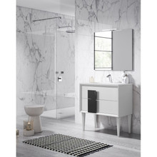 Lucena Bath 43041-01/Black Decor Cristal Freestanding 24 Inch Vanity With Ceramic Sink - White With Black Glass Handle
