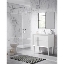 Lucena Bath 43051 Decor Cristal Freestanding 32 Inch Vanity With Ceramic Sink - White With White Glass Handle