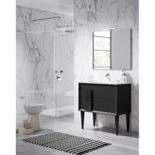 Lucena Bath 43061 Decor Cristal Freestanding 32 Inch Vanity With Ceramic Sink - Black With Black Glass Handle