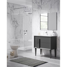 Lucena Bath 43101 Decor Cristal Freestanding 32 Inch Vanity With Ceramic Sink - Grey With Grey Glass Handle