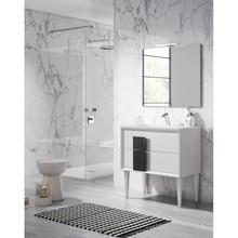 Lucena Bath 43111-01/Black Decor Cristal Freestanding 32 Inch Vanity With Ceramic Sink - White With Black Glass Handle