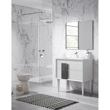 Lucena Bath 43181-01/Grey Decor Cristal Freestanding 40 Inch Vanity With Ceramic Sink - White With Grey Glass Handle