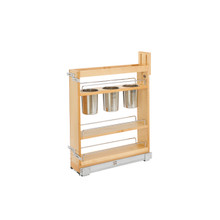 Rev-A-Shelf 448UT-BCSC-5C 5 in Base Cabinet Organizer w/ 3 Utensil Bins - Natural