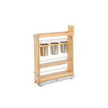Rev-A-Shelf 448UT-BCSC-5C 5 in Base Cabinet Organizer w/ 3 Utensil Bins - Natural