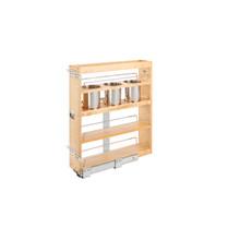 Rev-A-Shelf 449UT-BCSC-5C 6.25 in Base Cabinet Organizer w/ 3 Utensil Bins - Natural