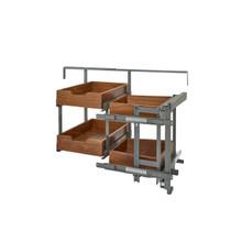 Rev-A-Shelf 499-18-RWN 18 in Two-Tier Blind Corner Org for Blind Left - Walnut