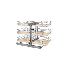 Rev-A-Shelf 53PSP3-18SC-MP 18 in. Maple Three-Tier Organizer w/Soft-Close - Gray