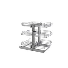 Rev-A-Shelf 5PSP3-15SC-CR 15 in Three-Tier Blind Corner Organizer Soft -Close - Chrome